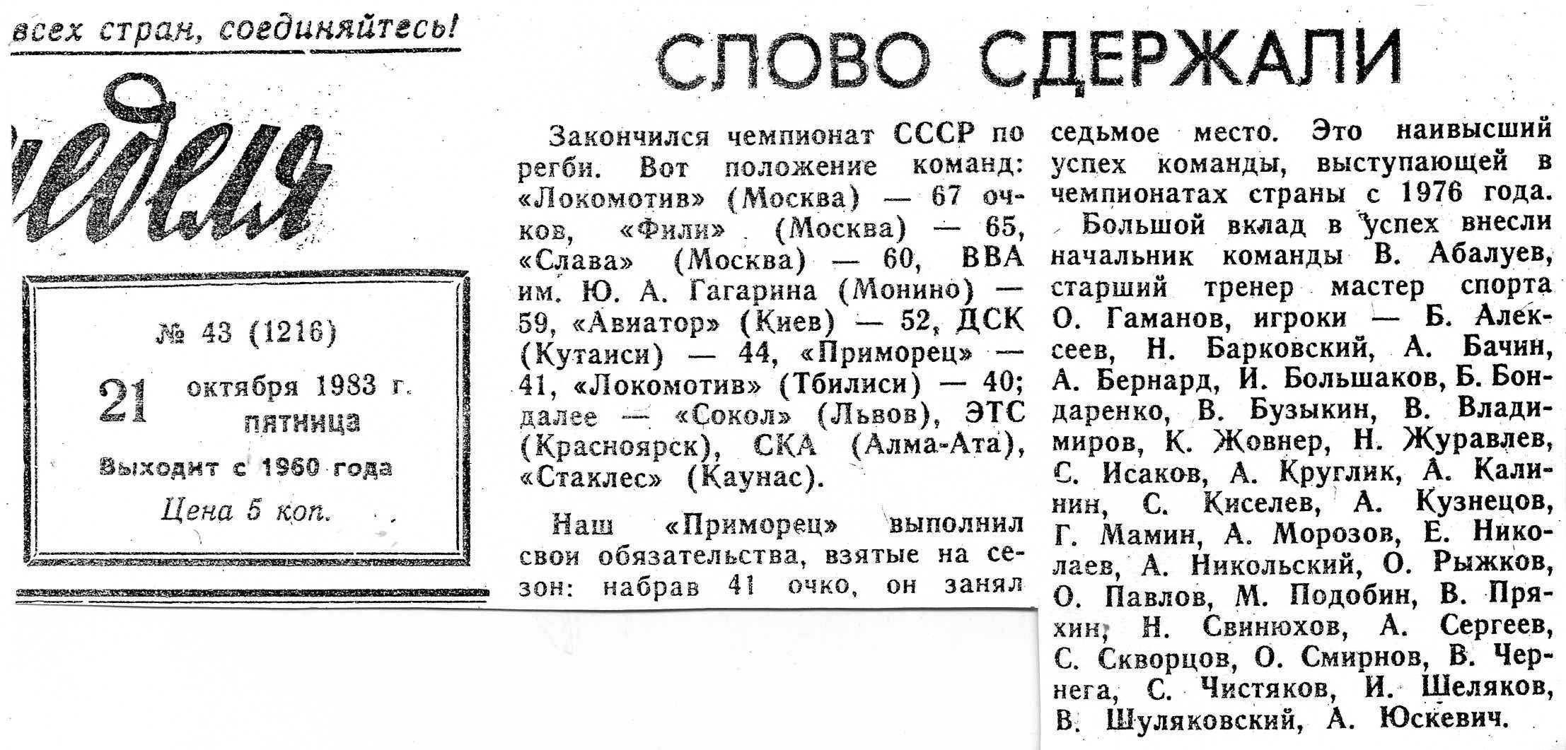 Слово сдержали 1983
